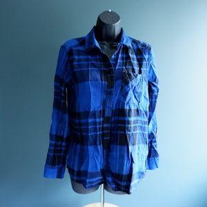 Express Blue plaid flannel button up shirt SZ S